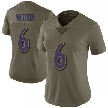 Women's Kaare Vedvik Baltimore Ravens Limited Green 2017 Salute to Service Jersey