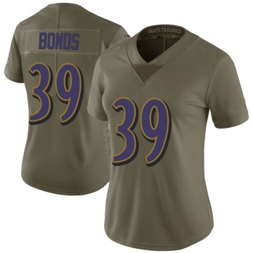 Women's Terrell Bonds Baltimore Ravens Limited Green 2017 Salute to Service Jersey