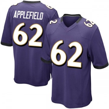 Youth Marcus Applefield Baltimore Ravens Game Purple Team Color Jersey