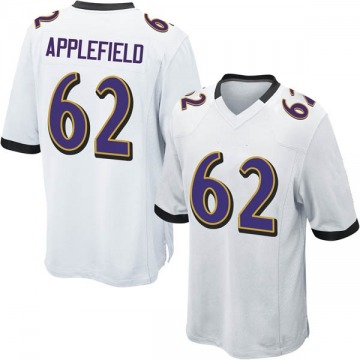 Youth Marcus Applefield Baltimore Ravens Game White Jersey